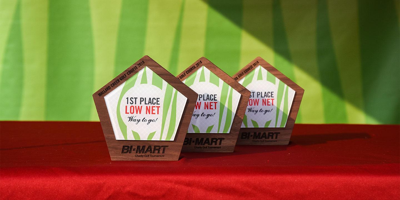 Golf award trophies on display