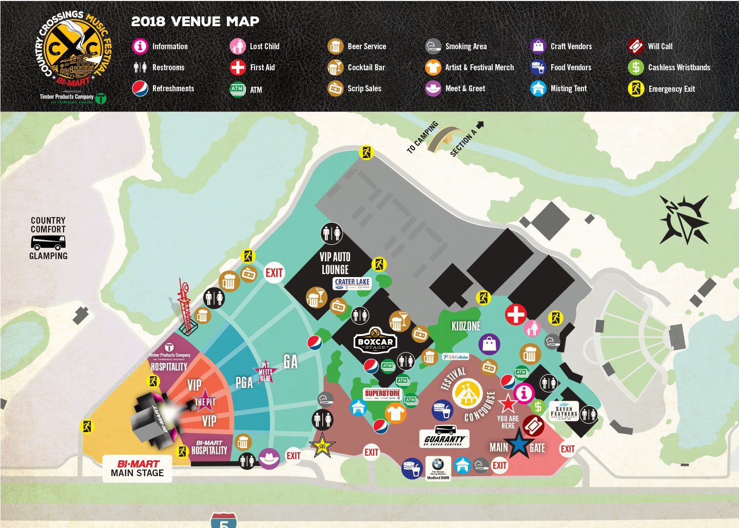Event site map designed for attendees