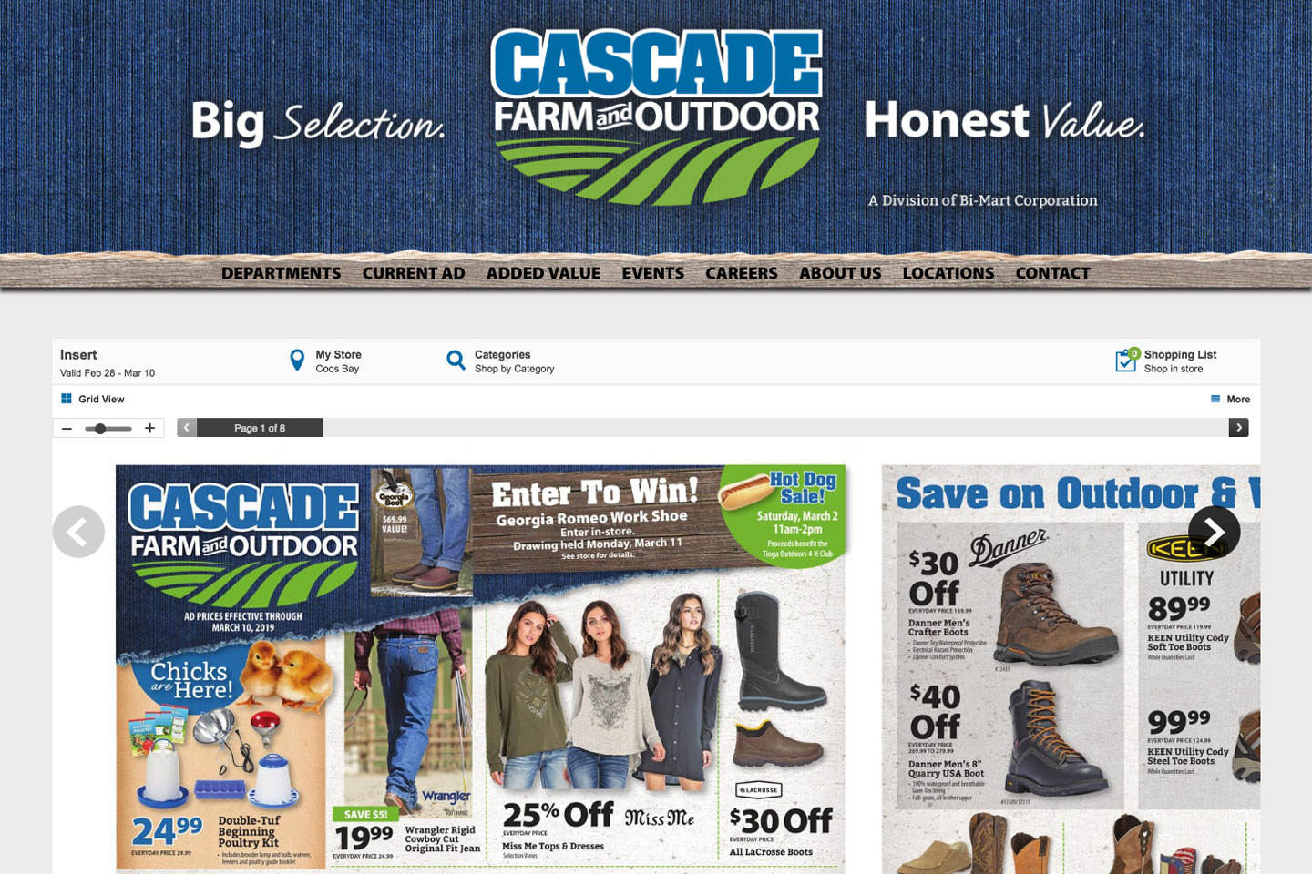 We build full websites for clients big and small, including the regional retailer Cascade Farm and Outdoor