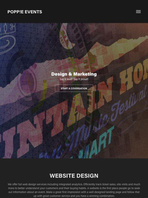 We design events. We design websites for events.